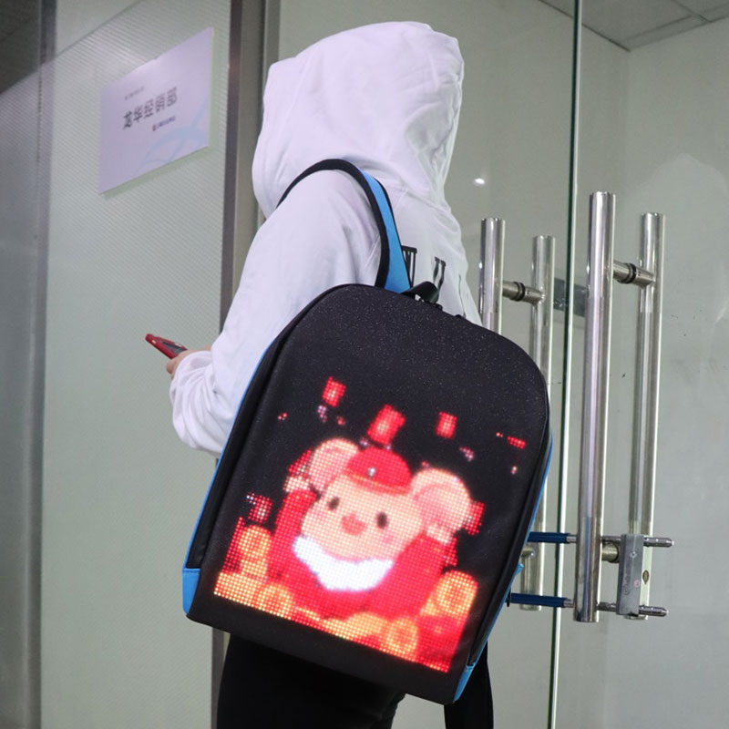 Smart LED Backpack Full Color LED Display APP WIFI Control Light Board Dynamic Advertising Multi-functional Computer Backpack