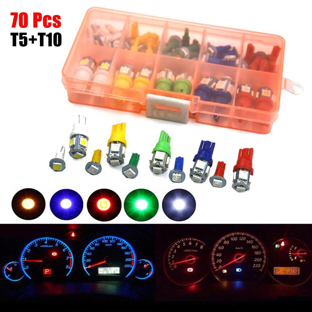 70 unidades/lote de luces LED T5 + T10 de alta calidad 5050 SMD, Panel de instrumentos, cuña, bombillas de tablero de coche DC 12V