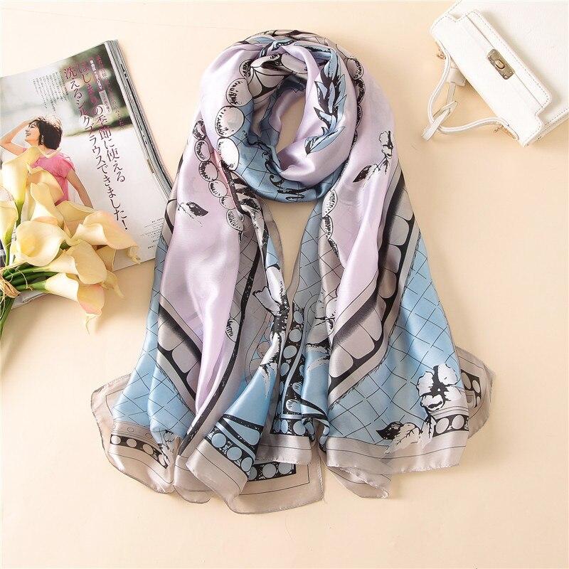 2020 New Style Spring And Summer Luxury Brand Women Beach Popular Scarf Ladies Print Large Size Silk Shawl Fashion Headcloth