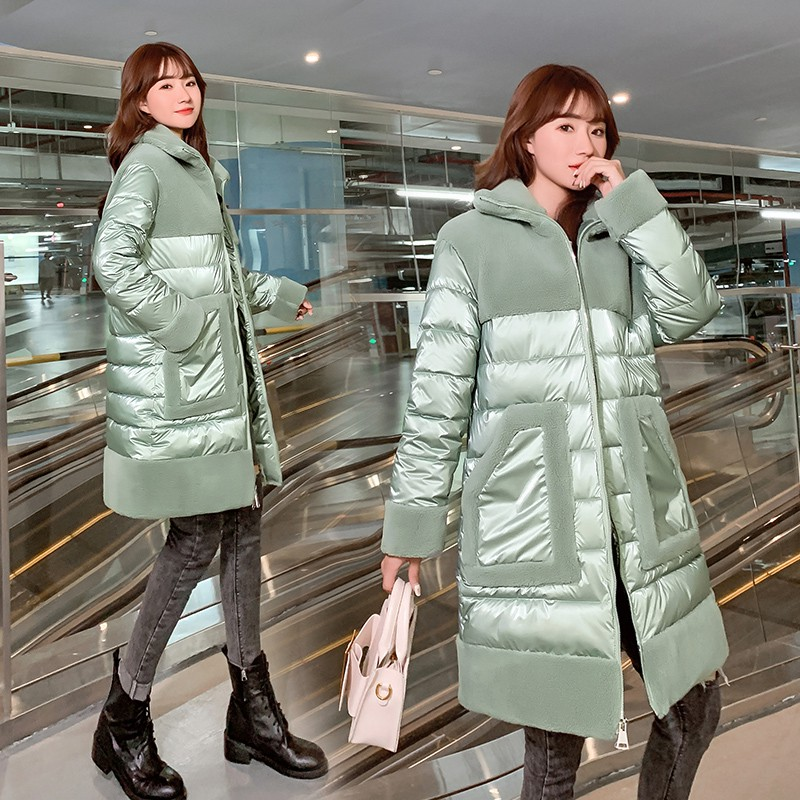 2020 Winter Sheep Wool Fur Coats Ladies Sheep Shearing Warm Thicken Outwear Womens Down Cotton Jacket Stitching Velvet Long Coat