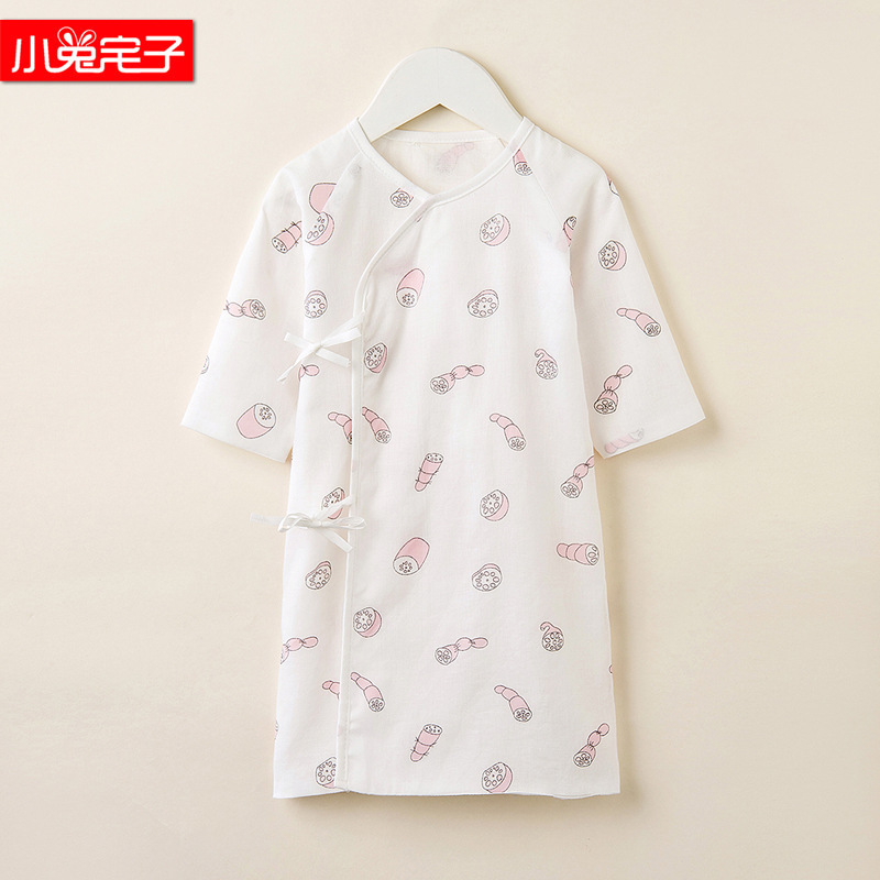 Double Layer House Cotton Spring And Summer Bunny Newborns Gauze Lace-up Bathrobe Baby Thin Cotton 100% Infant Summer