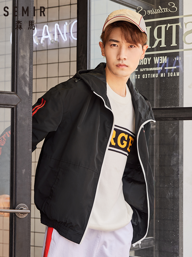Semir Jacket Men Korean Tide Brand Ins Red Loose Letters Printed Casual Jacket Youth Clothes Outwear