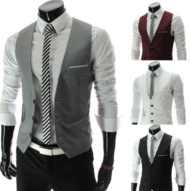 OLOME New Arrival Formal Vest For Men Slim Fit Mens Suit Vests Male Waistcoat Gilet Homme Casual Sleeveless Business Jacket