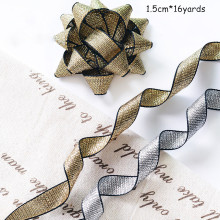 1.5cm Golden Silver Silk Ribbon Bouquet Cake Gift Wedding Arrangement DIY Packaging Material