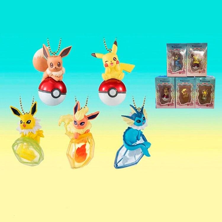 6pcs/set Pokemon Pikachu Vaporeon Flareon Jolteon Eevee Action Figure toy For children