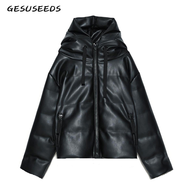2020 Korean winter jacket women kawaii black   parka   bubble jackets coats hooded cropped leather puffer jacket ladies