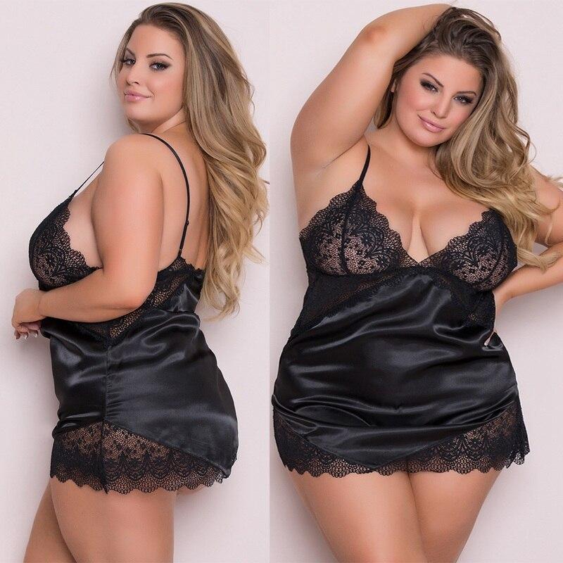 Plus Size 3XL-5XL  Women's Sexy Lingerie Lace Dress Underwear Babydoll Sleepwear Dress Newest