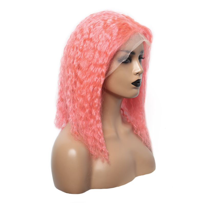 Pink Color 13x4 Lace Front Human Hair Wigs For Black Women Short Bob Cut Wigs Curly Brazilian Lace Front Wigs Ever Beauty Remy