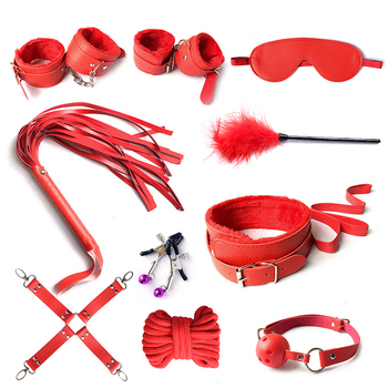10 Pcs/set  Sex Products Erotic Toys For Adults Bdsm Sex Bondage Set Handcuffs Nipple Clamps Gag Whip Rope Sex Toys For Couples 3