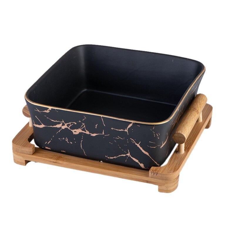Bol à salade de fruits carré | Céramique à motifs de marbre nord-européen carré décoration de la maison, vaisselle assiette à fruits/Snack
