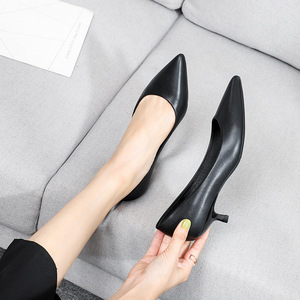 Image 3 - Office Lady Career Dress Solid Black Thin High Heels Shoes Woman Soft Slip On Elegant Classics Pointed Toe Pumps Heels Sandals