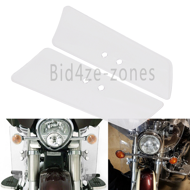 2x Motorcycle Clear Wind Fork Air Deflectors For Honda Shadow VT750C VT1100C2 VTX1300RV TX1300S Kawasaki VN1500E VN800B