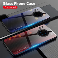 Eqvvol Gradient Tempered Glass For Huawei Mate 20 30 Pro P20 P30 Lite Stripe Glass Back Cover For Honor 20 8X 9X 10 Cases Capa(China)