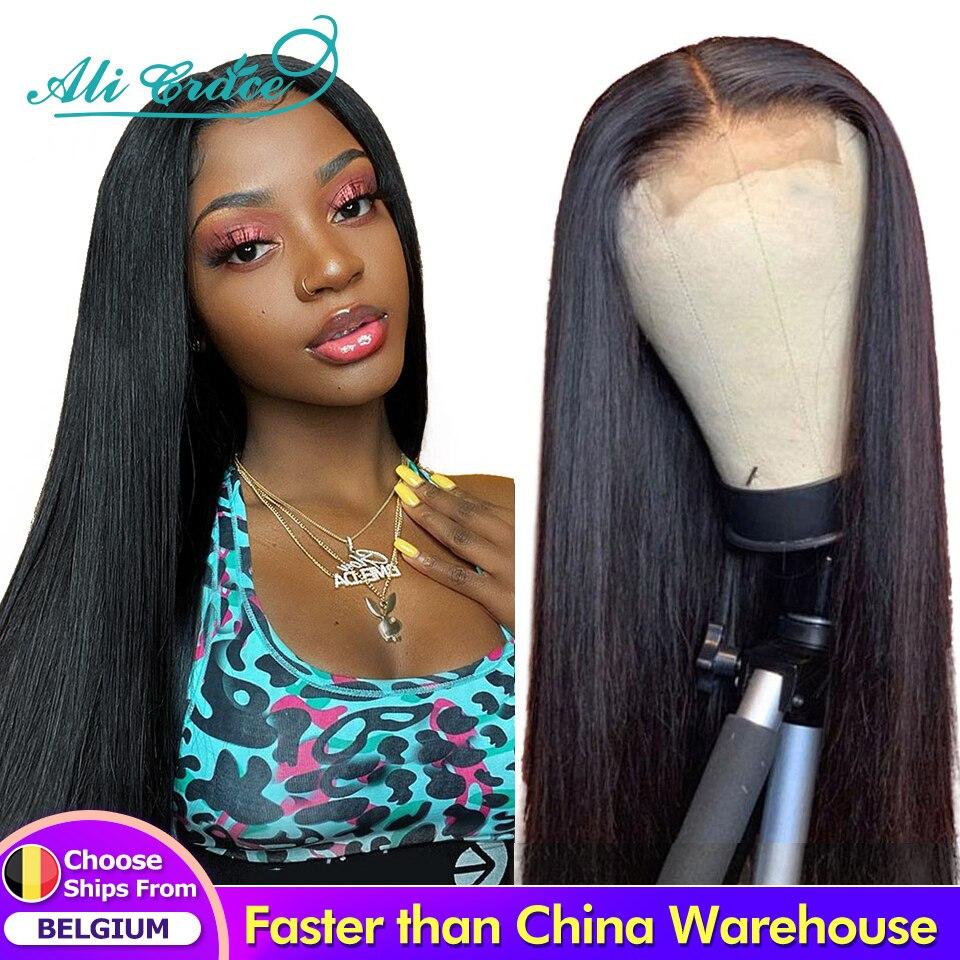 Ali Grace – Perruque de cheveux humains avec dentelle avant, lisse, fermeture 4x4 et 13x 4, avec des cheveux de bébé