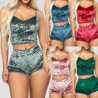 Mulheres 2 Peças de Veludo Pijamas Set Pijamas Sexy Espaguete Cinta de Topo Calções de Verão Das Senhoras V Neck Sólidos Nightwear Pijama Mujer