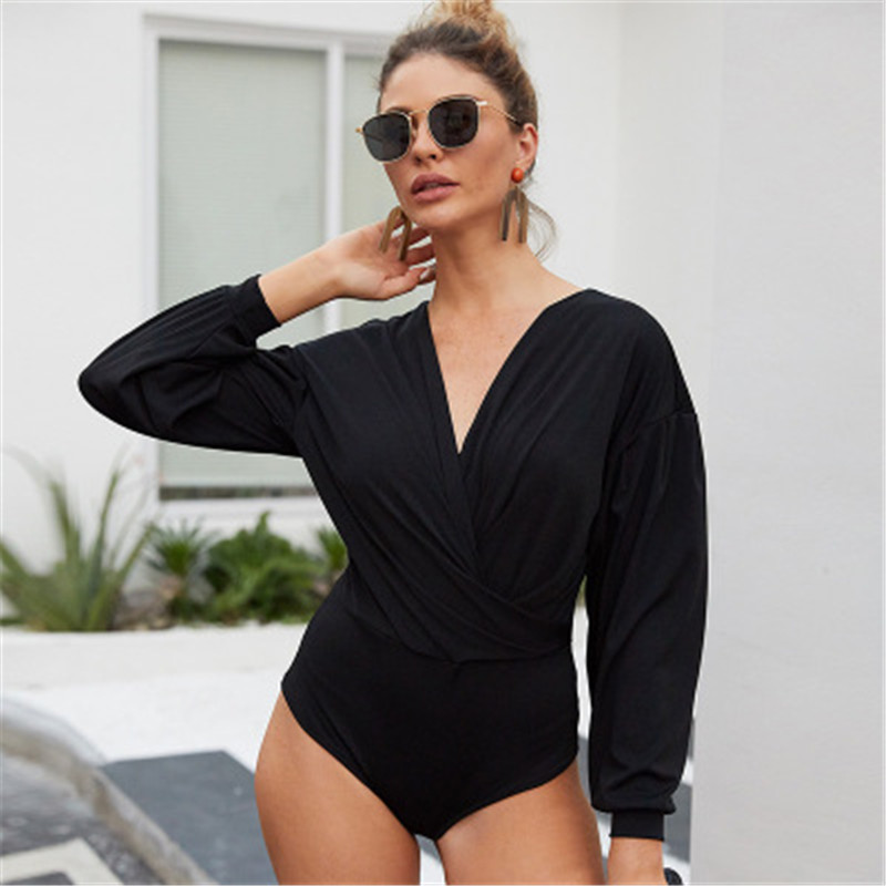 Sexy V-neck Puff Sleeve Jumpsuit Hot Pants For Women's Fitness Sports Jumpsuit Fall 2019 Elegant Woman One Pants