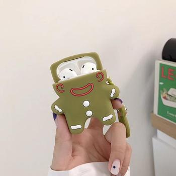 Cute 3D Kawaii Cookie man Key Chain Silicone Case Cover For Apple Airpods 1 2 Case Keychain Key Ring Earphone Earbuds Cover