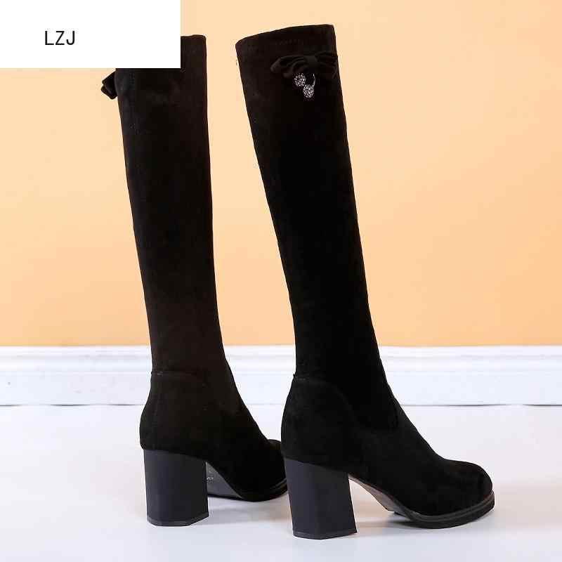 LZJ NOVAS Botas Mulheres Flock Mulheres Botas Lace Up Sexy Mulheres Sapatos De Salto Alto Outono Inverno Coxa Botas Altas Meados -bezerro Cristal 2019