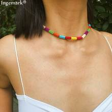 Simple Rainbow Natural Stone Short Choker Necklace Female 2019 New Fashion Clavicle Chain Colorful Festival Necklace for Women(China)