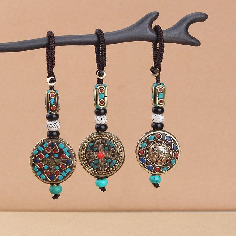 Chaveiro com pingente de buda tibetano, chaveiro com símbolo om om aum budista mantra joias,