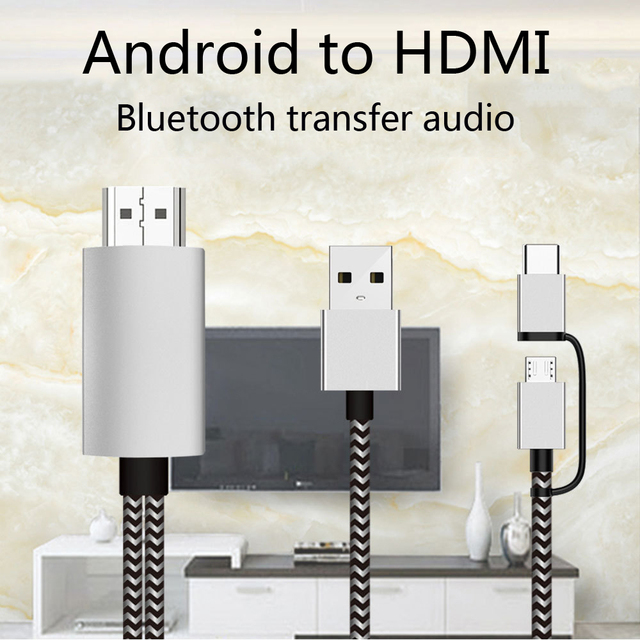 2K Bluetooth Audio Type C Micro USB HDMI Cable HDTV Adapter For Huawei Mate 20 P9 Samsung S10 S9 S8 Note 8 9 Android Phone to TV