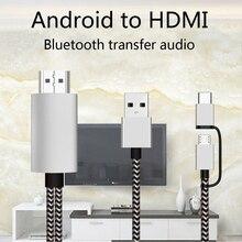 2K Bluetooth Audio typ C Micro USB kabel HDMI Adapter HDTV dla Huawei Mate 20 P9 Samsung S10 S9 S8 uwaga 8 9 Android telefon do telewizora