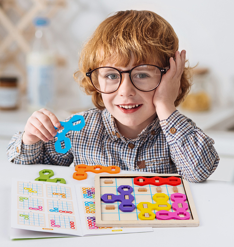 cor geométrica combinando tangram jogo educacional brinquedos lógica pensamento formação
