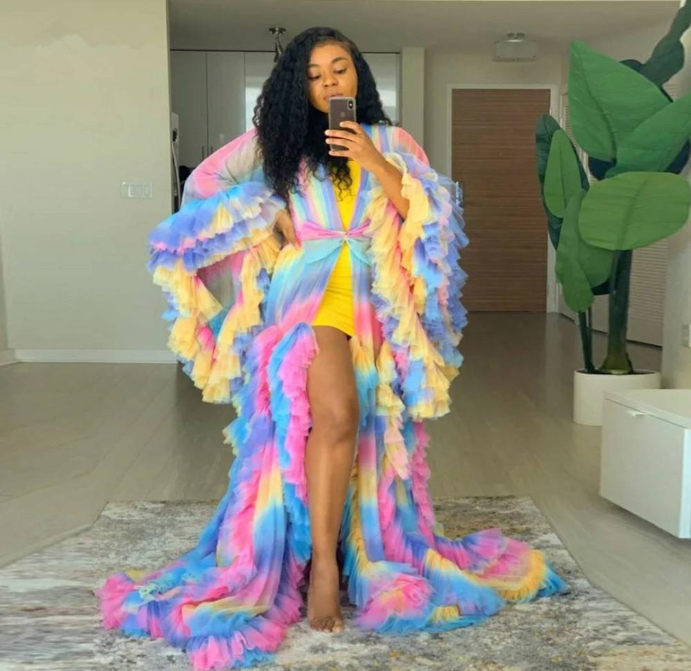 Plus Size Rainbow Tulle Evening Robe Long V Neck Bathrobe Sleepware A Line Nightgowns Bridal Robe Boudoir Dress Pregant Gowns