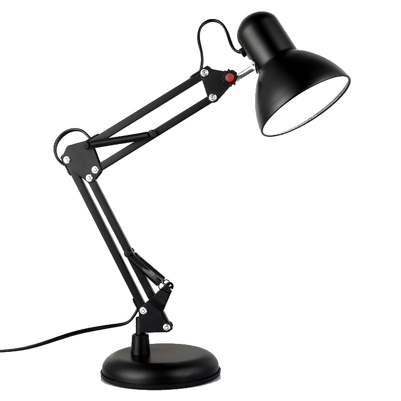 E27 Adjustable Metal Swing Arm Desk Lamp Clamp Mount Flexible Folding Table LED Light With Clip Base For Office Home No Bulb
