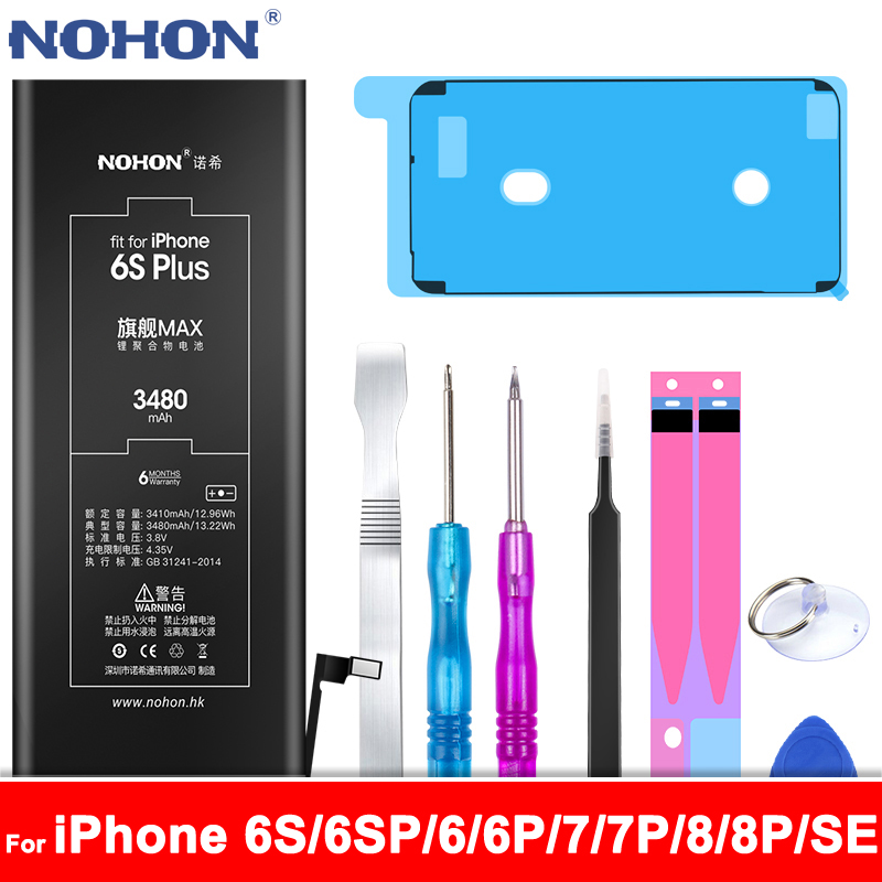 NOHON Phone Replacement Battery For Apple iPhone 6S 6 7 8 Plus 6SPlus 6Plus 7Plus 8Plus SE For iPhone6S Internal Bateria + Tools image