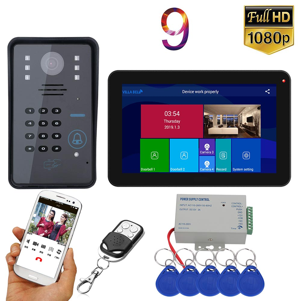 MOUNTAINONE 9 Inch Wifi Wireless RFID Video Door Phone Doorbell Intercom System With Wired AHD 1080P Camera
