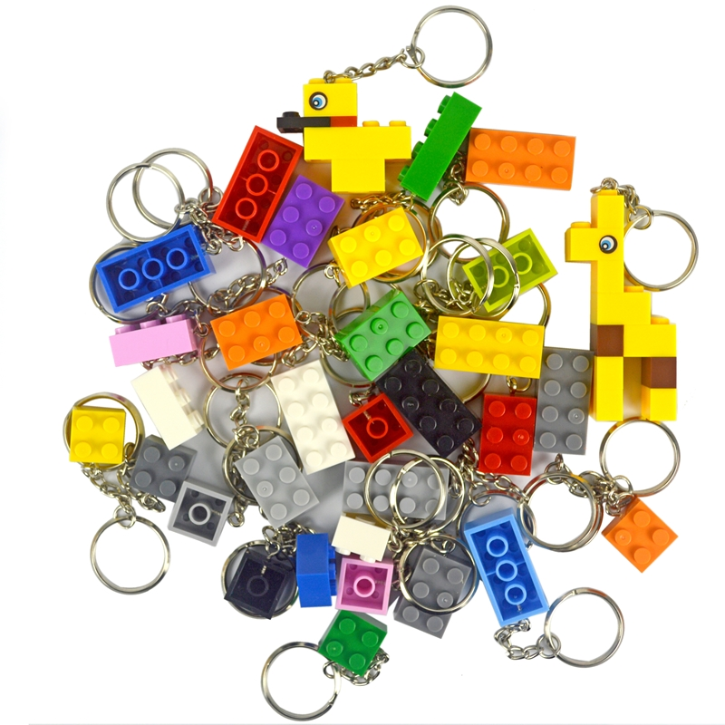 Key Chain Building Blocks Random Color Hanging Ring Accessories Keychain Creative Brick Kits Compatible Legoinglys Toys For Kid