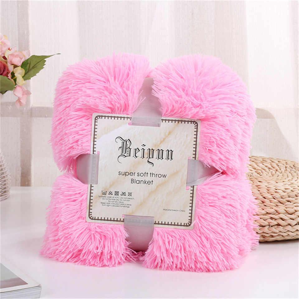 Постельные розетки лохматый пледы одеяло мягкие плюшевые пушистые покрывало на кровать красочные пушистые искусственный мех накидка на мебель для дивана