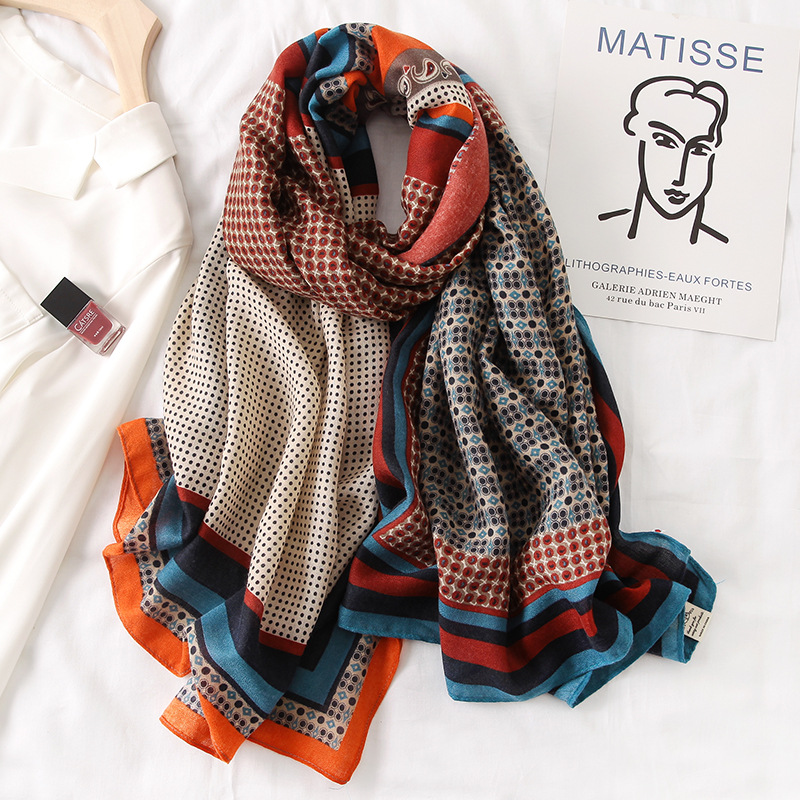 2020 New design brand women scarf fashion print cotton spring winter warm scarves hijabs lady pashmina foulard bandana plaid|Women