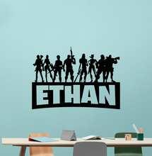 Nome customizável adesivo de parede de vinil menino presente jogo batalha jovem jogador quarto internet cafe decoração adesivo de parede muraldz52