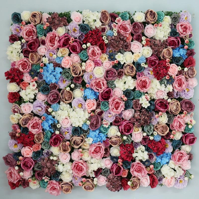 Paneles florales Pared de flores artificiales flores románticas fondo Floral boda foto de decoración fotografía Fondo decoración del hogar