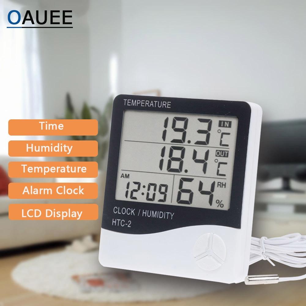 Метеостанция с цифровым ЖК-дисплеем, электронный измеритель температуры и влажности для дома и улицы, с термометром, гигрометром и будильни...