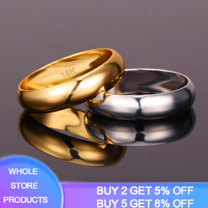 High Quality 6mm Wholesale Simple Ring Fashion Rose Gold Ring Men's And Women's Exclusive Couple Wedding Ring With 18K LOGO R034