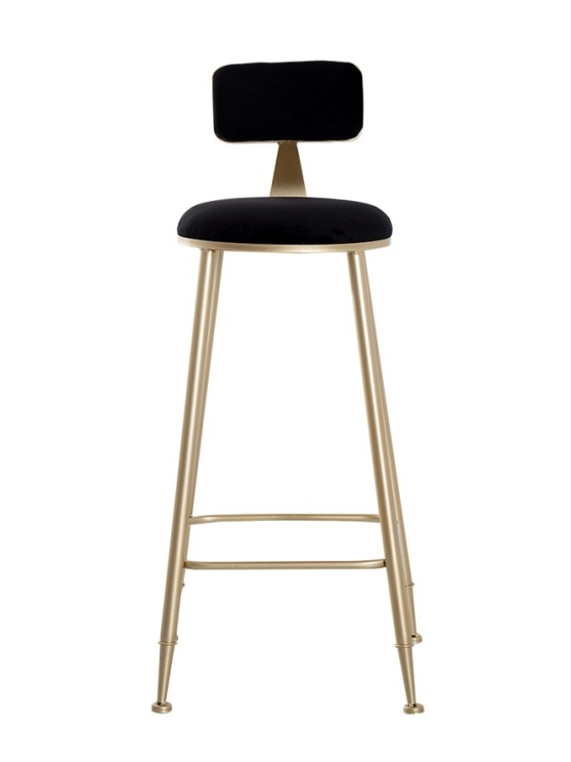 Metal Bar Stool With Backrest High  Net Red Restaurant   Chair Milk Tea Dessert Shop  Bench Modern