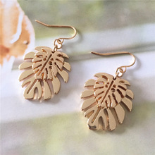 High Quality Vintage Drop Earrings for Women Gold color Double Leaf Drop Earrings Female Party Gift