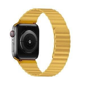 Image 2 - 애플 시계 밴드에 대 한 더블 마그네틱 걸쇠 스트랩 44mm 40mm 가죽 루프 iwatch 시리즈 4 5 3 2 42mm 38mm 팔찌 애플 시계 4 5