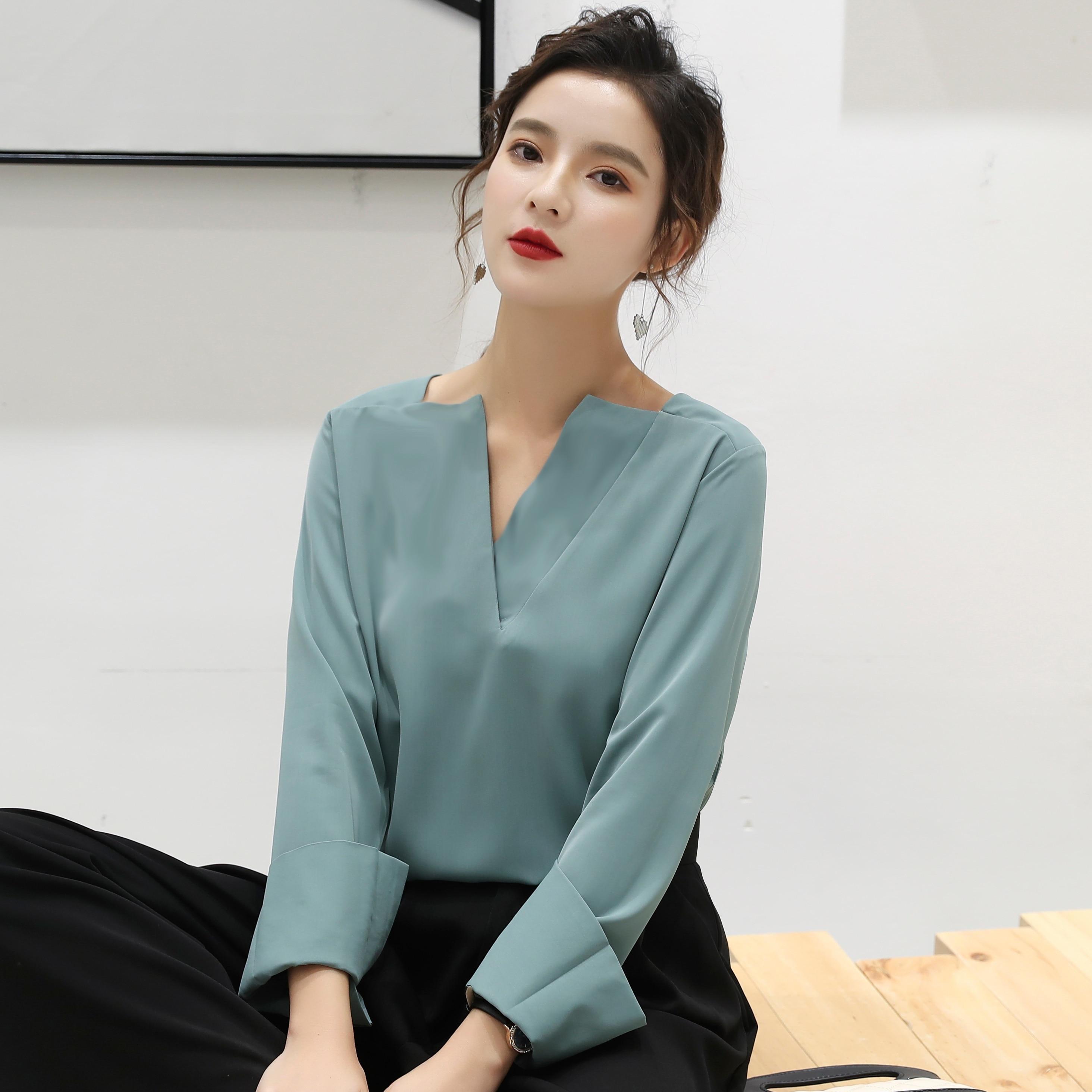F9110 2019 New Autumn Winter Women Fashion Casual Ladies Work Shirts Korean  Harajuku  Womens Tops