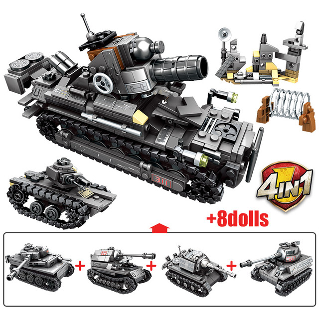 SEMBO 957pcs City WW2 Chariot Series Building Blocks Military Tank Army Soldier Figures Technic Bricks Toys for Children