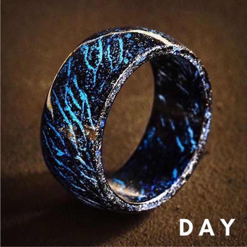 Hiyong novo design luminoso roxo azul resina anel brilhante no escuro casamento anéis de noivado para mulheres presente de jóias