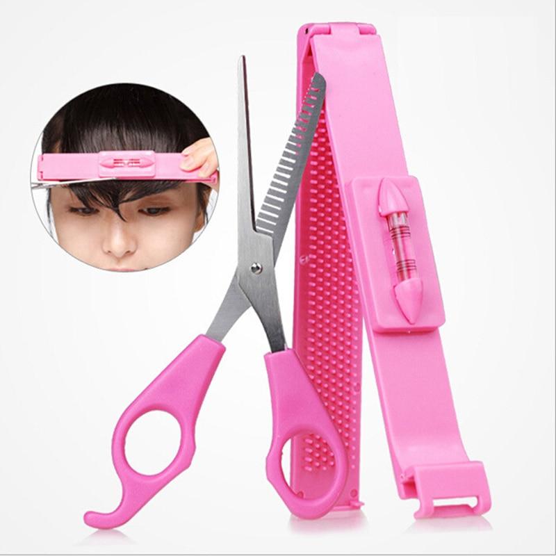Professional DIY Tools Women Artifact Set Hair Cutting Scissor With Ruler Hair Cutting Pruning Bangs Hairdressing