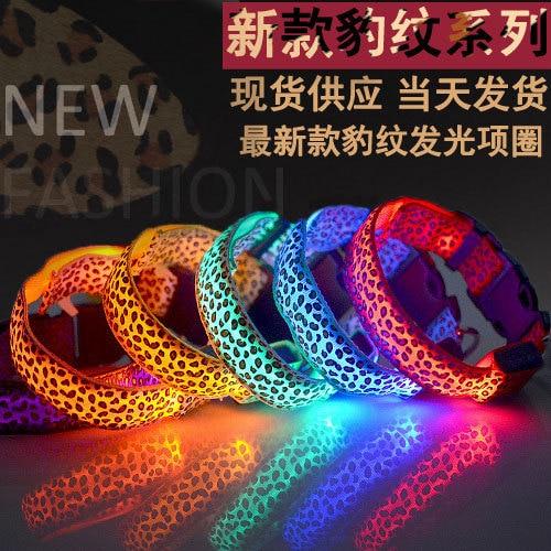 Pet Supplies New Style Leopord Pattern LED Luminous Collar Spot Line Flash Dog Neck Ring