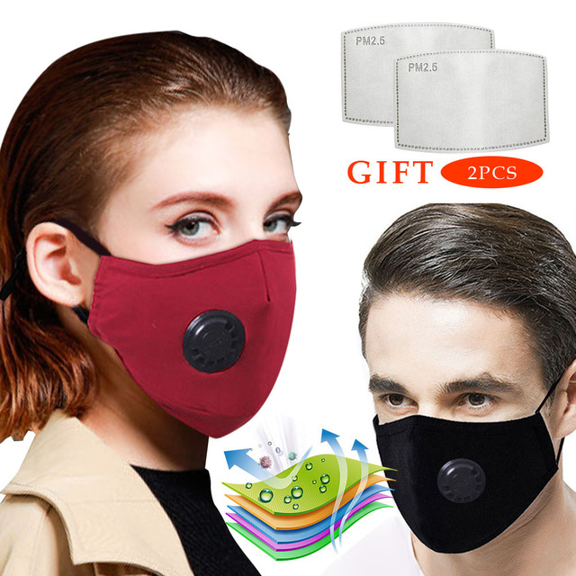 Fashion masque Anti Pollution PM2.5 Mouth Respirator Washable Reusable Dust Masks Cotton Unisex Mouth Muffle Black 2 Filter
