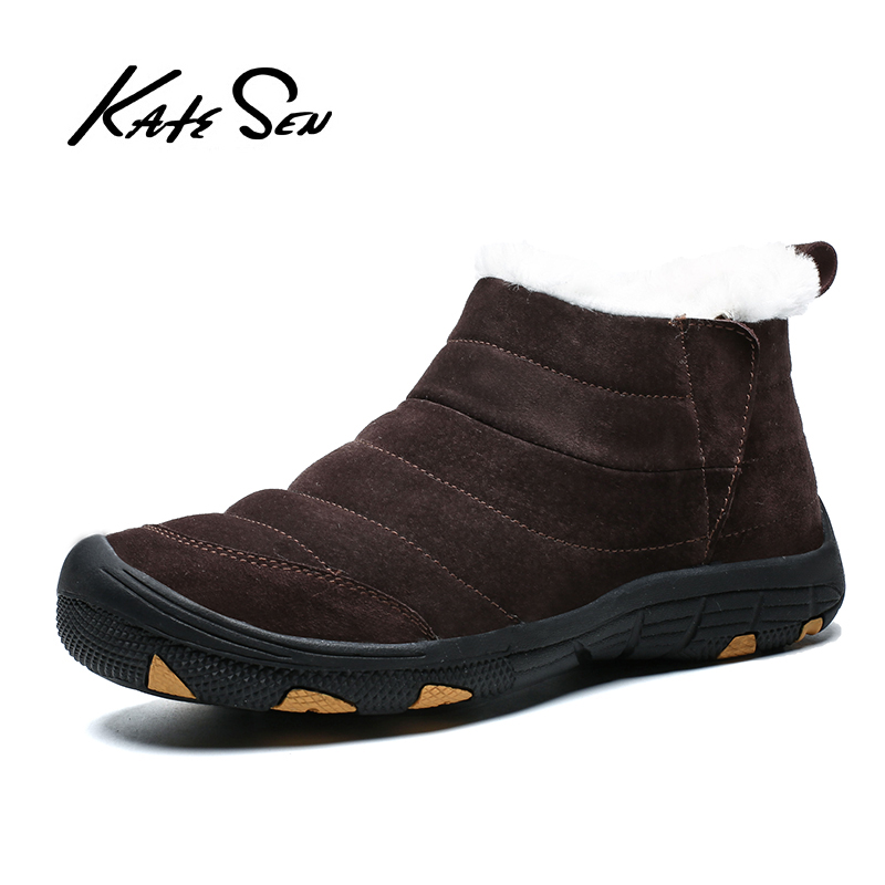 KATESEN New Plush Keep Super Warm Men Boots Winter Boots Rubber Plush Snow Boots England Retro Ankle Boots For Men Winter Shoes