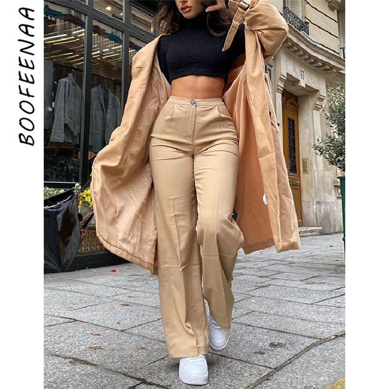 BOOFEENAA хаки повседневные широкие брюки для девочек детские штаны с высокой посадкой, 2020 для женщин, модная одежда, для офиса, Женские базовые ...