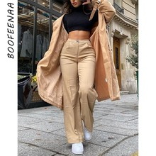 Boofeenaa caqui casual calças de perna larga calças de cintura alta 2020 roupas femininas moda senhora do escritório basic flare calças C85-DZ22